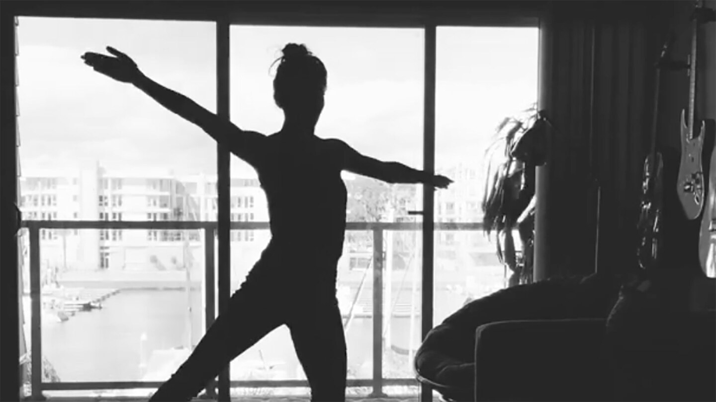 "Silhouette of an  L.A. Dance Project dancer in ""12 Variations."" 