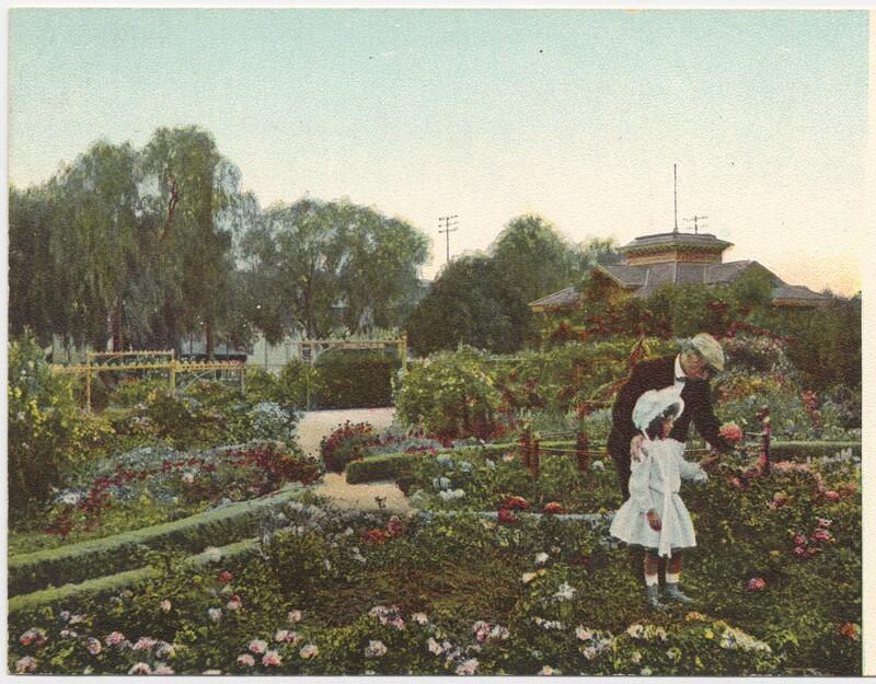 De Longpre in his Hollywood garden with his daughter, circa 1900