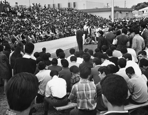 Garfield High School principal appealing to students to return to classes, March 7th 1968. Photo courtesy of the Los Angeles Public Library