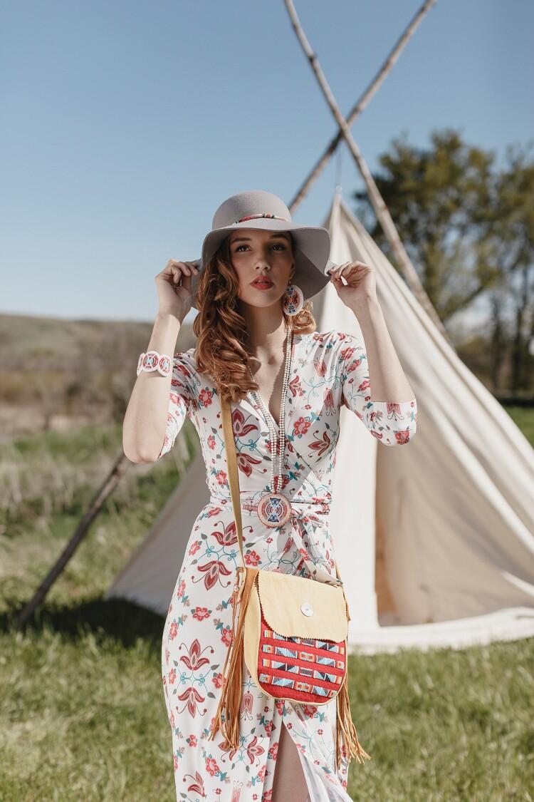 Model Mariah Watchman wearing B. Yellowtail designs
