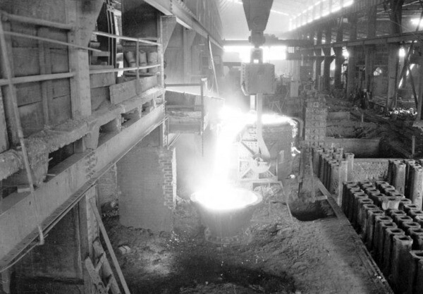 An undated photo of a steel foundry. Courtesy of the USC Libraries - California Historical Society Collection.