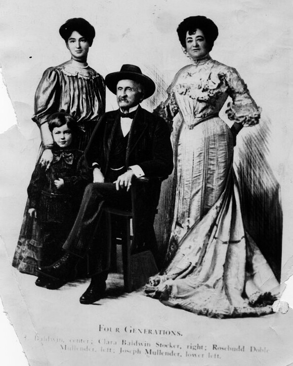 Four generations: (clockwise) Anita, Clara, Lucky, and grandson Joseph. Image: Lucky Baldwin: The Story of An Unconventional Success