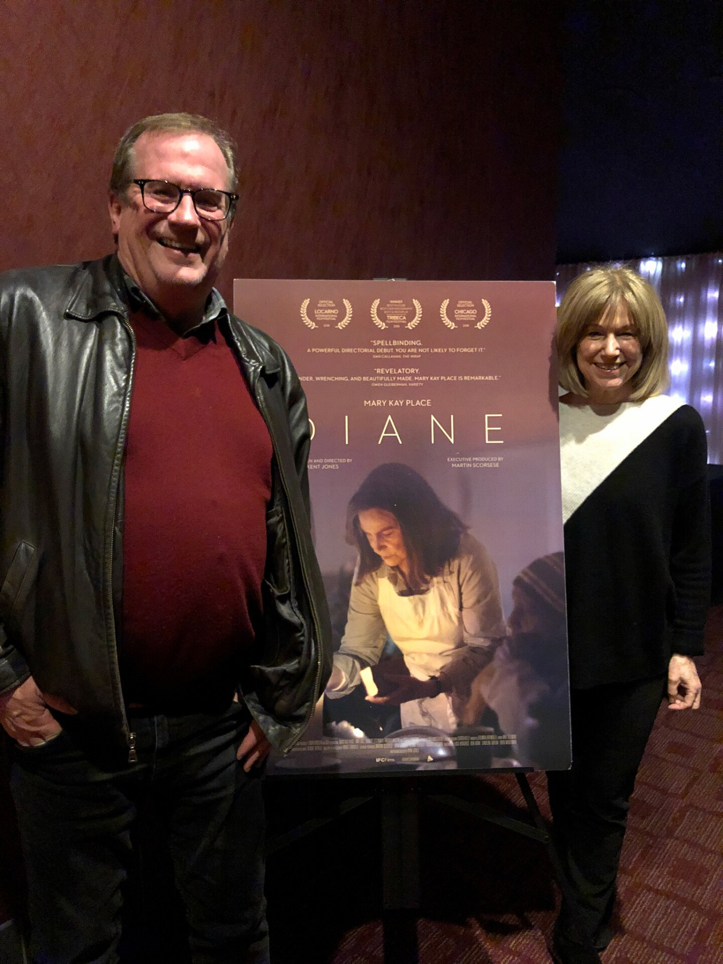 """Cinema Series host Pete Hammond and Actor Mary Kay Place after a screening of """"Diane"""""""