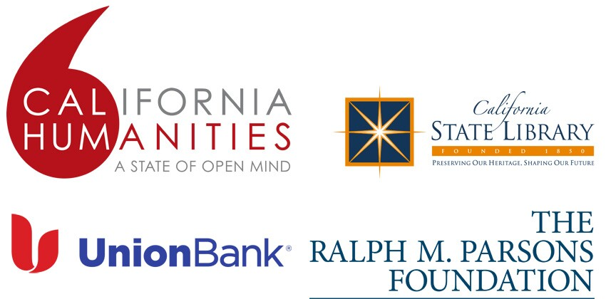 Logos for California Humanities, California State Library, Union Bank, and The Ralph M. Parson's Foundation