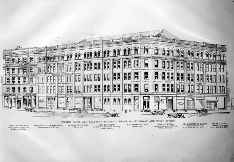 Drawing of the Bradbury Building, circa 1893, showing prospective tenants
