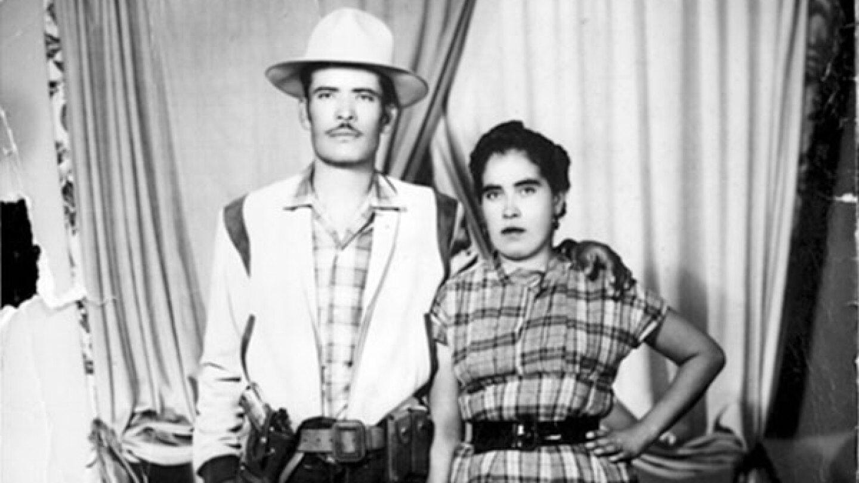 Black-and-white photograph of Salomon Chavez Huerta and Carmet Mejia Huerta circav 1954. | Courtesy of Alvaro Huerta