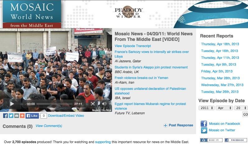 MOSAIC World News website
