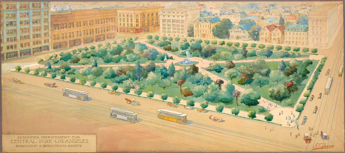 A watercolor rendering of suggested improvements for Pershing Square by architects John Parkinson and George Edwin Bergstrom drawns by J. F. Dupre circa 1910   The Huntington Library, Art Museum, and Botanical Gardens