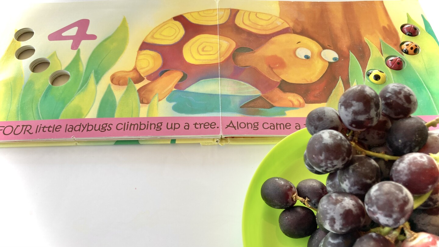 Close up of a counting book and purple grapes