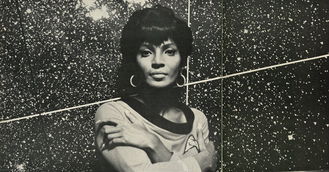 """Nichelle Nichols in """"A New Star in the TV Heavens,""""1967 Ebony. 