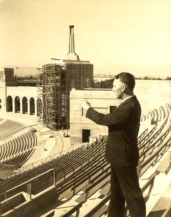 Prior to the 1932 games, 29,000 seats were added to the Los Angeles Memorial Coliseum. Courtesy of the Occidental College Archives.
