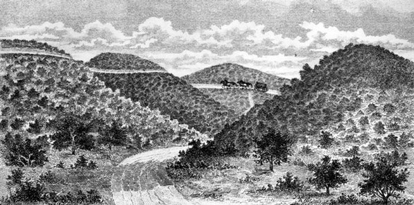Early drawing of Cahuenga Pass, showing the possible site of the first Battle of Cahuenga Pass. Courtesy of the Los Angeles Public Library Photograph Collection.