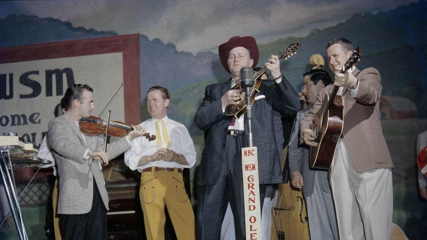 Bill Monroe on the Grand Ole Opry, Nashville, c.1958. | Les Leverett Collection