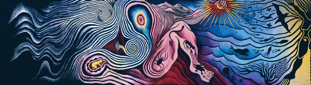 Judy Chicago, The Creation from the Birth Project, 1984, Modified Aubusson tapestry 42 x 163 inches. Executed by Audrey Cowan Collection of the Museum of Arts and Design, NY; gift of the Robert and Audrey Cowan Family Trust