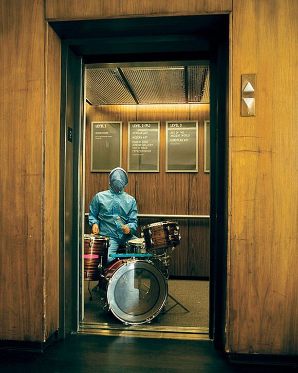 Elevator performance by Corey Fogel from Machine Project's Hammer residency | Photo: Courtesy of Machine Project.
