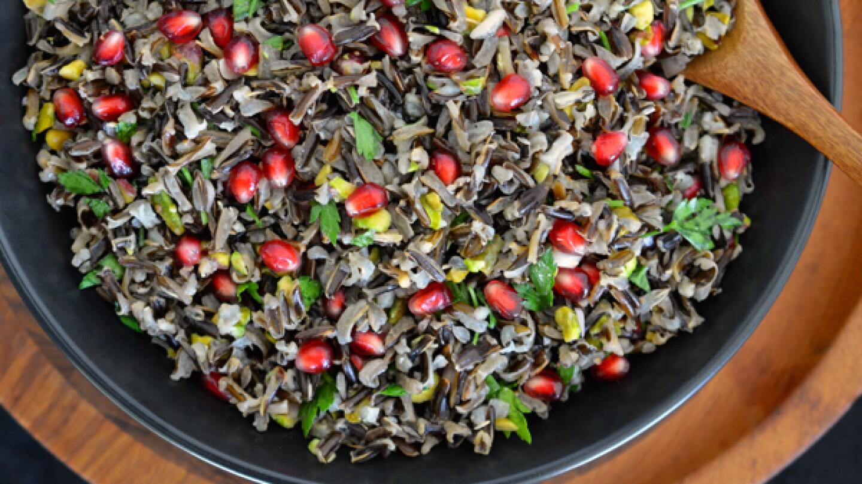 Pomegranate and Pistachio Wild Rice Salad