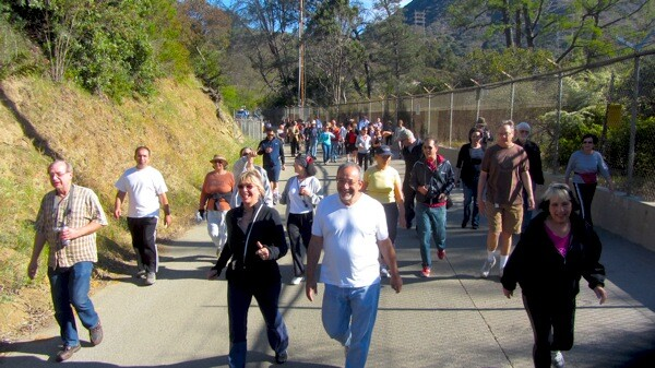 The first official steps onto the reopened path. | Photo: Zach Behrens/KCET
