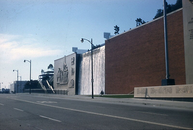 Photograph of the Fort Moore Memorial taken just after its completion in 1958.