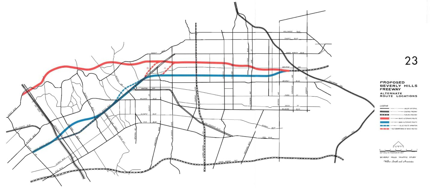 Planners initially considered a more northern route that roughly followed the path of Sunset Boulevard. From the 'Beverly Hills Freeway Traffic Study' by Wilbur Smith and Associates, 1964. Courtesy of the Metro Transportation Library and Archive.