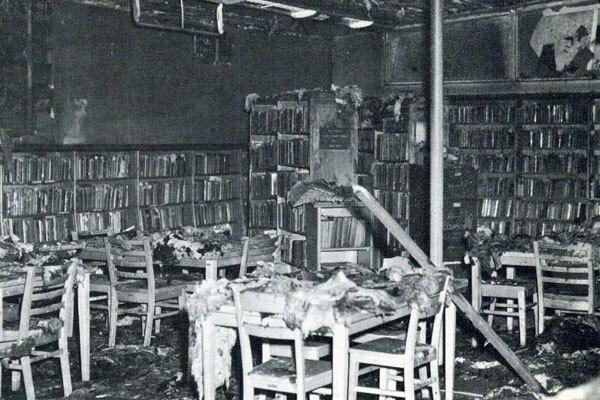 Willowbrook's library was destroyed in the 1965 Watts uprising, but has since been replaced and currently experiencing major renovations. Photo courtesy of CalState Dominguez Hills Archives.
