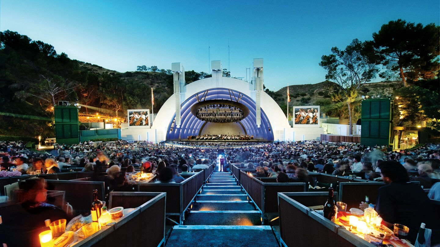 "Hollywood Bowl shell with patrons in box seats. | Adam Latham, Courtesy of the Los Angeles Philharmonic ""In Concert at the Hollywood Bowl"" ep 4 preview thumbnail"