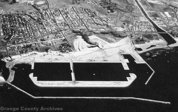 An aerial view of Dana Point Harbor under construction, circa 1970. Courtesy of the Orange County Archives.