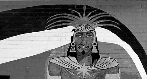 To Ace Out a Homeboy, mural at Ramona Gardens by Manuel Cruz, for the Mechicano Art Center.