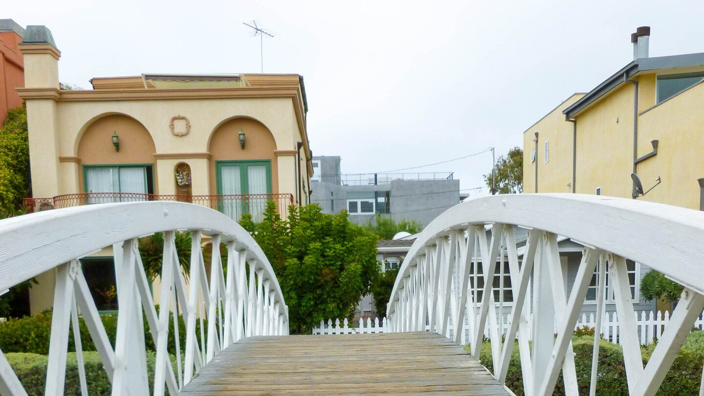 View from a footbridge over the Venice Canals | Sandi Hemmerlein