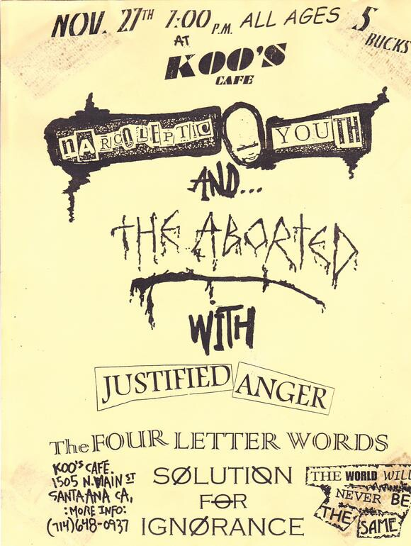 Narcoleptic Youth and The Aborted flyer, Koo's Cafe, 1998. | Courtesy of The Aborted.