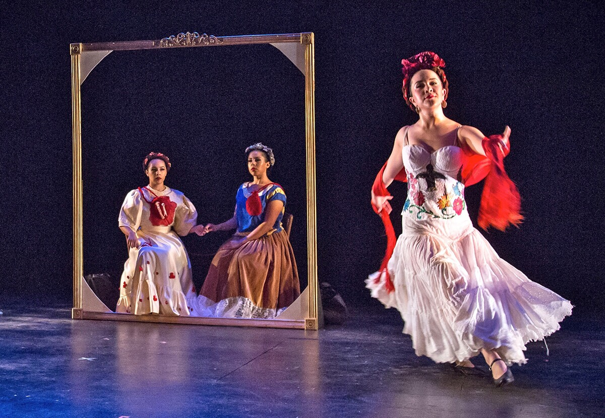 """Danza Floricanto at the  Dance Resource Center Awards in 2015. They were performing a piece called """"Las 3 Fridas,"""" a reinterpretation of Frida Khalo's painting, """"Las 2 Fridas."""" 