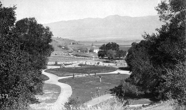 The Rancho Los Feliz ostrich farm, circa 1885. Courtesy of the Photo Collection, Los Angeles Public Library.