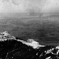 Aerial view of Echo Mountain House and the San Gabriel Valley. Mount Lowe Observatory is in the lower right corner of the photo. | Courtesy of the Los Angeles Public Library