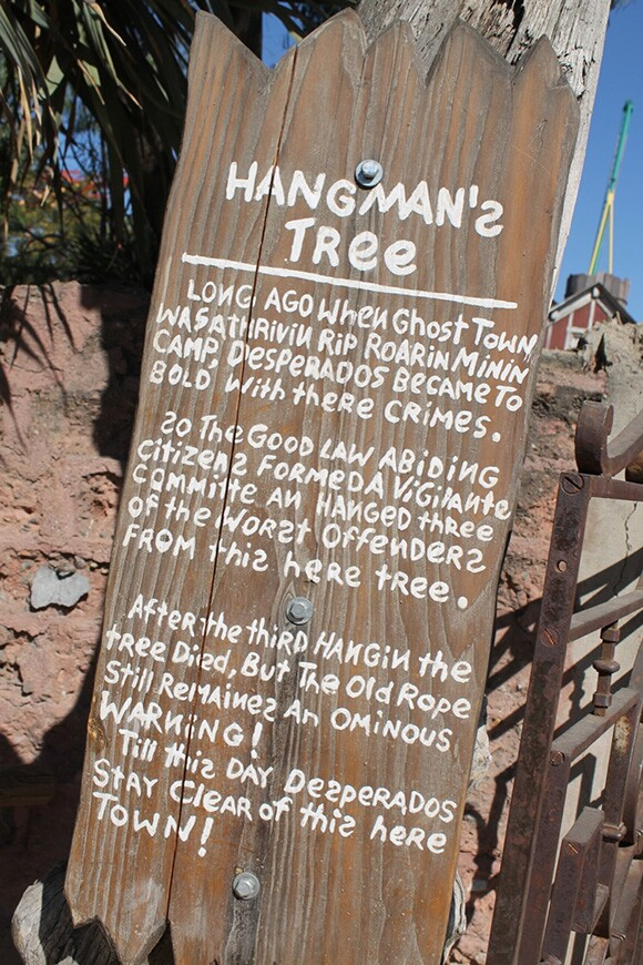 """Sign for """"Hangman's Tree,"""" Ghost Town, Knott's Berry Farm. 
