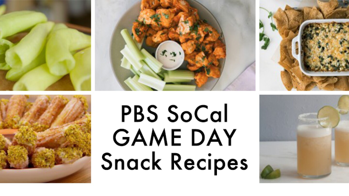 """5 tiled images of snack foods and center tile with text """"PBS SoCal Game Day Snack Recipes"""""""