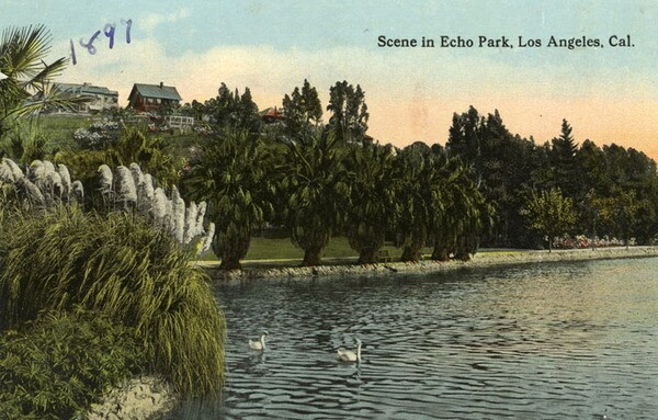 Postcard of Echo Park in 1897. Courtesy of the Security Pacific National Bank Collection - Los Angeles Public Library.