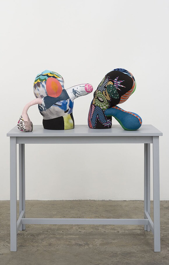 """""""Model for Monument to the Triumph of the Therapeutic,"""" 2013 fabric, polyester filling, upholstery foam, wood, and paint, 44 x 37 x 18 inches 