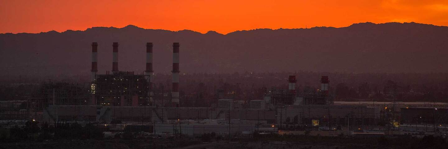 The gas-powered Valley Generating Station is seen in the San Fernando Valley at sunset. | David McNew/Getty Images