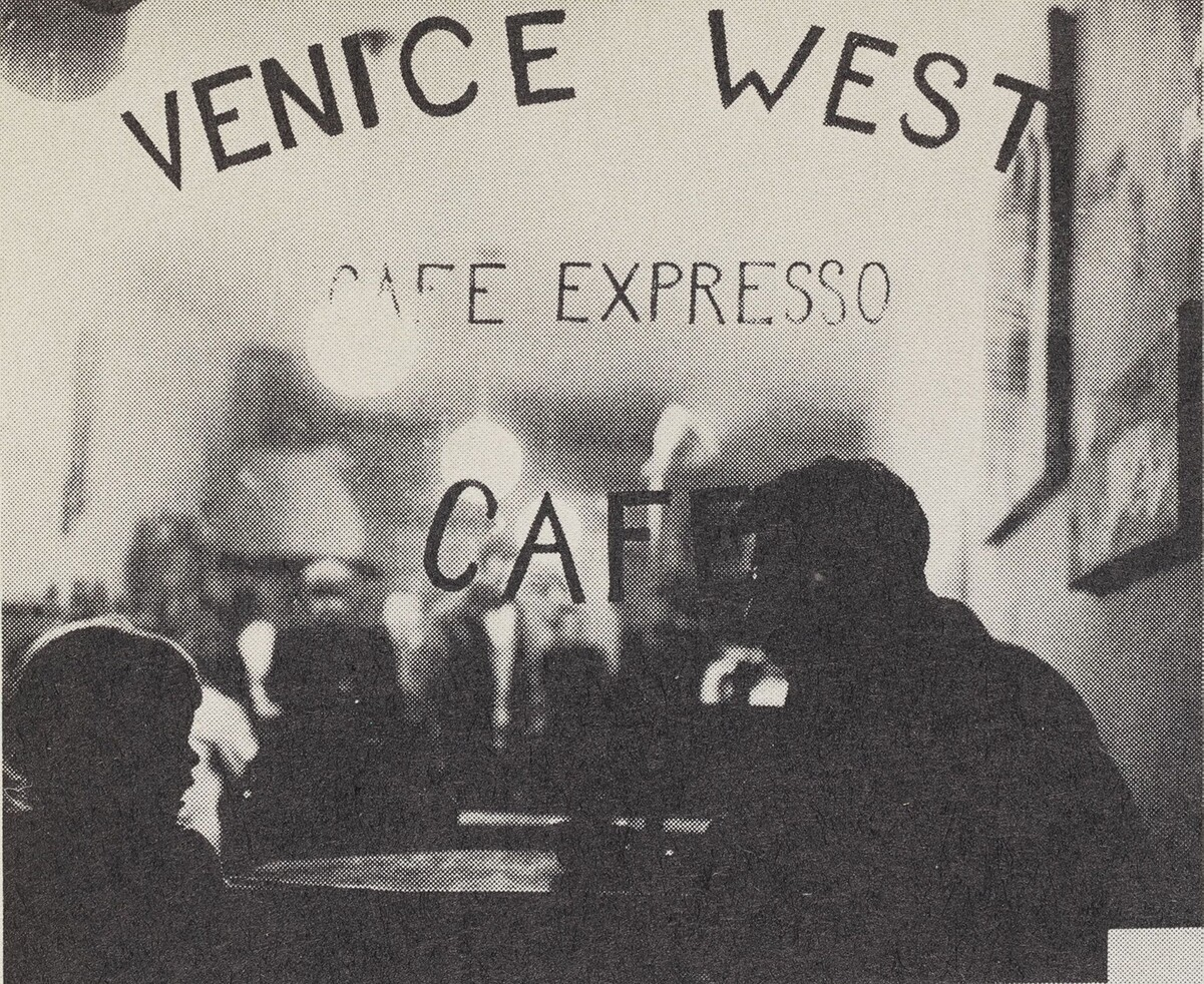 "Exterior of Venice West, a beat generation coffee house. Published in ""The Holy Barbarians."" 