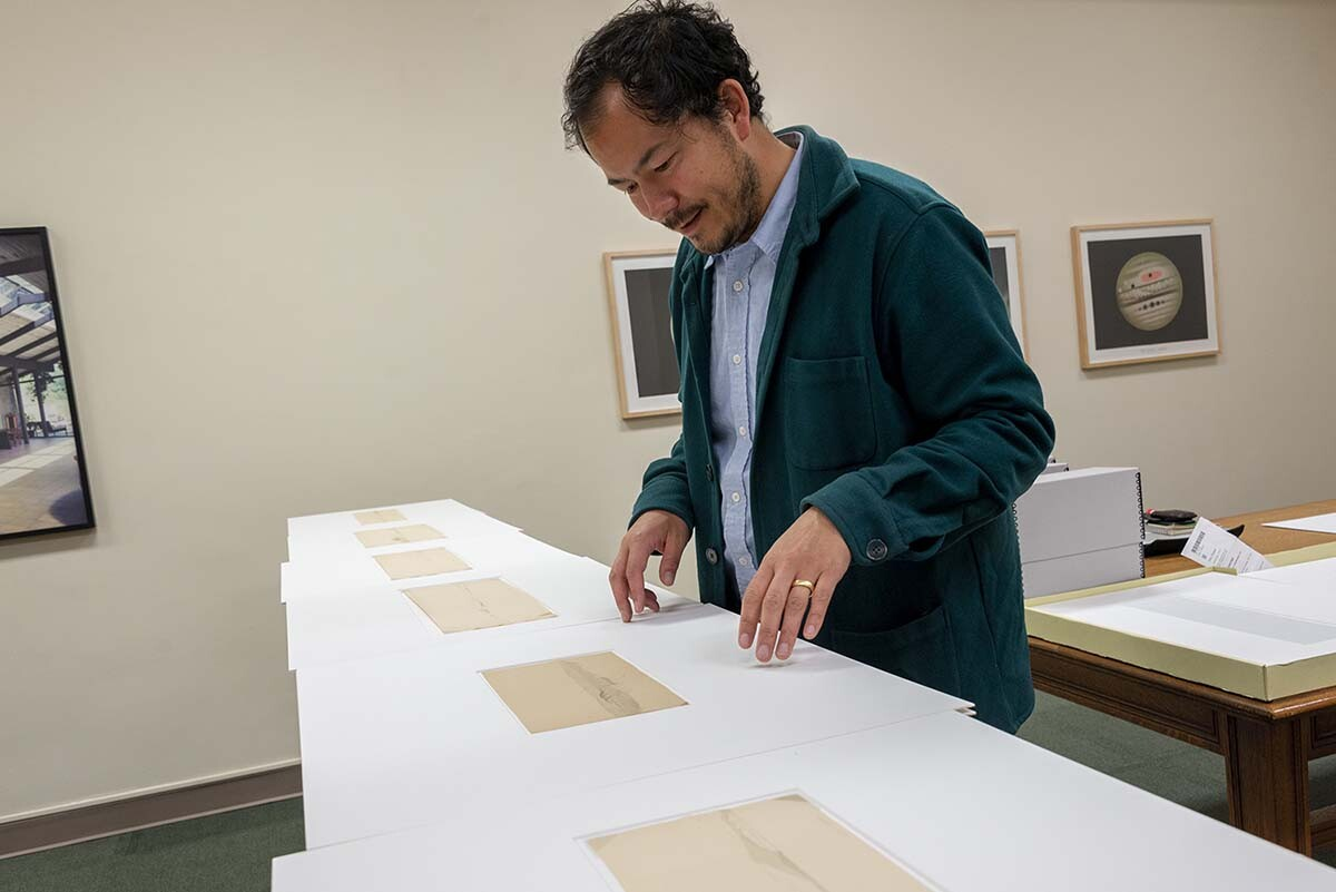 Rosten Woo conducting research at The Huntington | Kate Lain. The Huntington Library, Art Museum, and Botanical Gardens