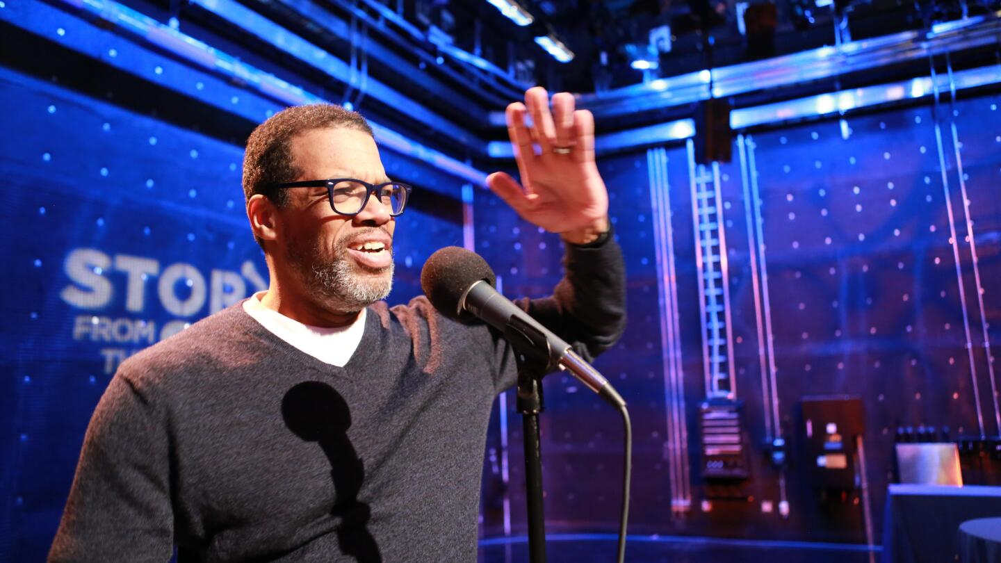 """Ken Green speaks into a microphone on """"Stories from the Stage: Uh-Oh."""""""