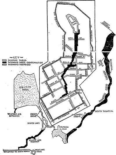 Map of proposed Silver Lake Parkway (1913)