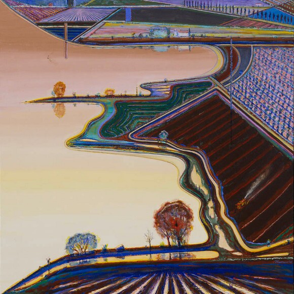 Wayne Thiebaud, &quot;River Lake,&quot; 2008, oil on canvas, 60 x 60 in.<br /> © Wayne Thiebaud / Licensed by VAGA, New York.