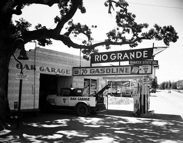 A limb of the storied Hangman's Oak extends over this garage in Calabasas. Courtesy of the Photo Collection, Los Angeles Public Library.