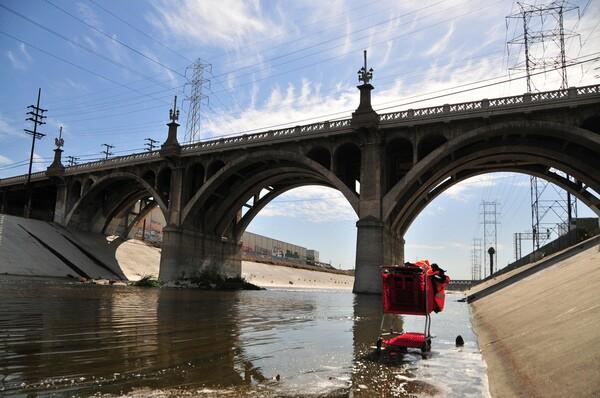 The L.A. River as it runs through Downtown L.A. | Photo by Justin Cram/KCET Departures