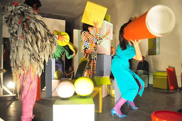 <strong>Public Fiction</strong>. Emily Mast, &quot;B!RDBRA!N (Epilogue),&quot; 2012. Exhibition and performance as part of Public Fiction's Theatricality and Sets series. Photographer: Anitra Haendel.