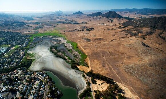 This aerial photograph reveals the effects of the drought on the Laguna Lake area of San Luis Obispo, Calif. | Brittany App