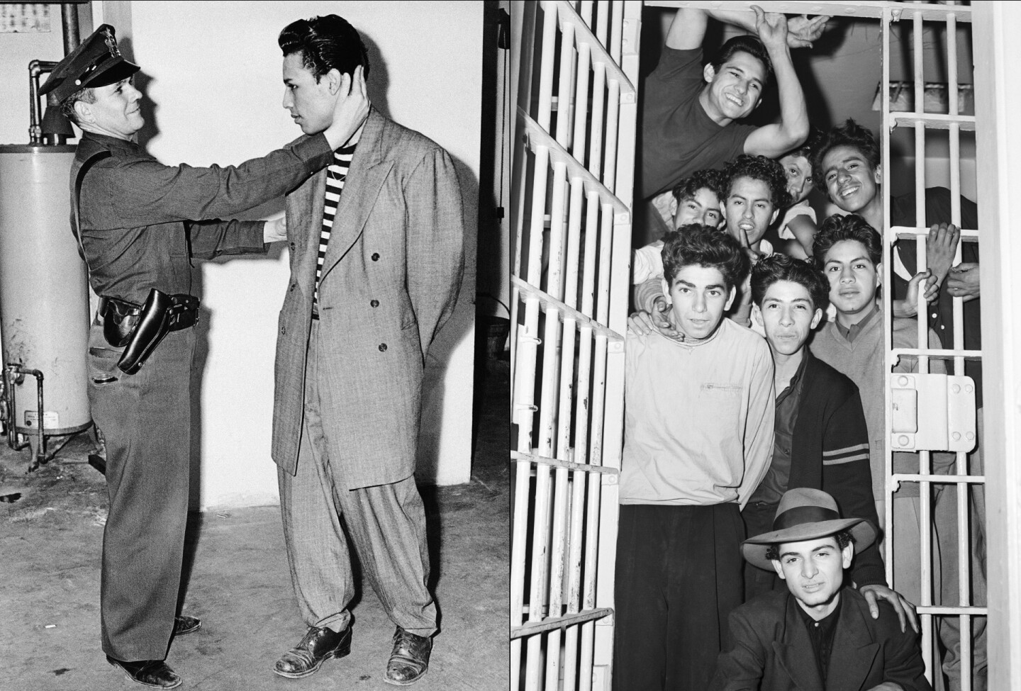 "Deputy Sheriff Bartley Brown of East Los Angeles inspects the haircut of prisoner  Alex ""Largo"" Rodriguez, who is wearing an $85.00 zoot suit, 1943. / Young zoot suiters in a jail cell following the Zoot Suit Riots"