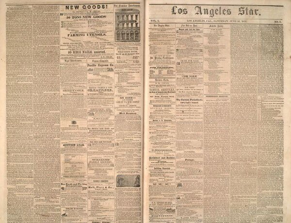 Established in 1851, the Los Angeles Star initially published out of the Bella Union. Courtesy of the Los Angeles Star Collection, USC Libraries.