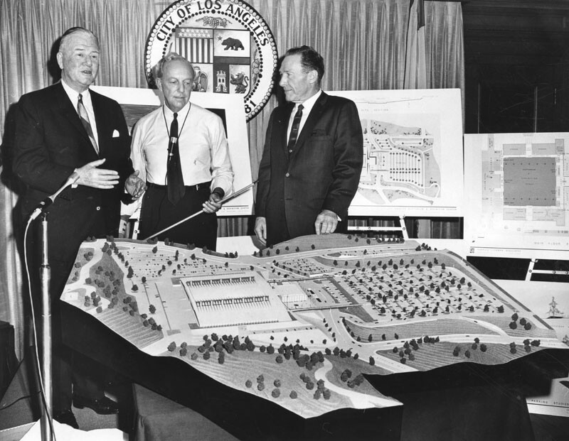 Convention Center advocate Neil Petree, architect Charles Luckman, and Los Angeles Mayor Sam Yorty with a model of the proposed development