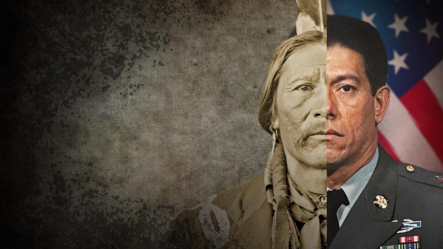 "A split portrait of two Native Americans who served in the U.S. military. | From ""The Warrior Tradition"""